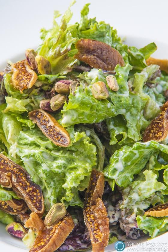 Φωτογράφιση Τροφίμων, Φωτογράφιση Πιάτων Μαγειρικης - Σαλάτα Φρέσκου Μαρουλιού με Σύκα