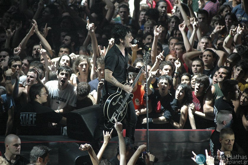 Billie Joe Armstrong performing live with Green Day in Madrid. Coverage for the Rolling Stone Magazine